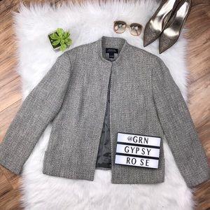 Sz 16 gray tweed minimalist style blazer Euc